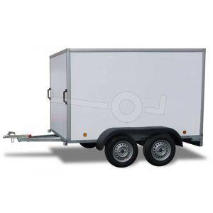 Power Trailer gesloten aanhangwagen, tandemas ongeremd, afmeting 252x125x150cm, bruto laadvermogen 750kg
