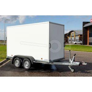 Power Trailer ongeremde tandemasser gesloten aanhangwagen 257x132x150 cm met een bruto laadvermogen van 750 kg