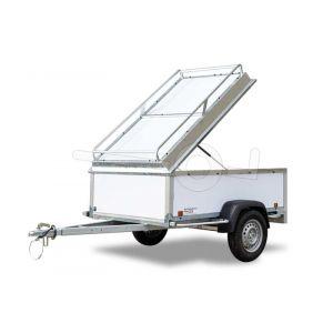 Deksel aan voorzijde scharnierend als optie op de Power Trailer bagagewagen