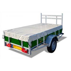 Vlakzeil compleet, voor Powertrailer bakwagen 200x132 met vast voorrek en tussenstijlen, grijs, ongemonteerd