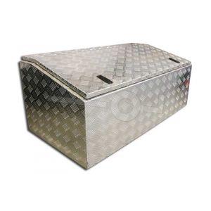 Aluminium materiaalkist met aflopend deksel, afmeting 120x60x50 cm, voorzien van slot
