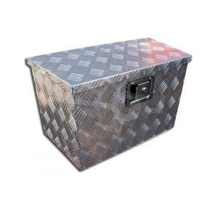 Aluminium materiaalkist met schuine zijden, afmeting 50x60x35x(30) cm, voorzien van slot.