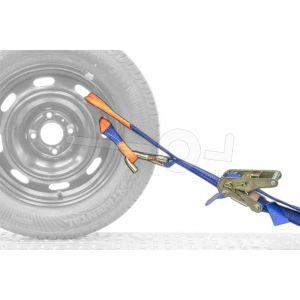 Autospanband voor het vastzetten van een auto. Bevestiging door de velg van de auto. Afmeting 150cm lang 35mm breed.