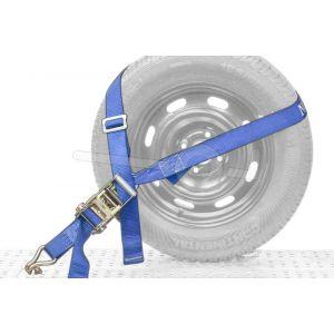 Autospanband voor het vastzetten van een auto. Bevestiging om het wiel van de auto. Afmeting 250cm lang 35mm breed.