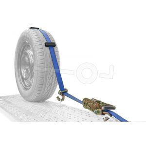 Autospanband voor het vastzetten van een auto. Bevestiging over de band van de auto. Afmeting 250cm lang 50mm breed.