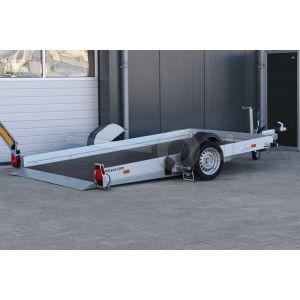 Humbaur transporter voor kleine voertuigen HKT 132817 S, Lxb 280x176cm, Bruto 1350kg (1000kg netto), Handmatig hydraulisch zakbaar, Lvh 42cm, Borden 15cm, Oprijhoek 5°, Enkelas geremd, Banden 195/50R13