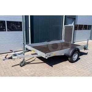 """Transporter voor kleine voertuigen, 311x176x15,  bruto1500kg (1196 netto), vloerhoogte 57cm, banden 14"""", enkelas"""