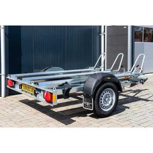 """Motortrailer voor 3 motoren 209x136 (lxb bak), bruto 750kg (575 netto), vloerhoogte 52cm, oprijhoek 15º,  banden 13"""", enkelas"""