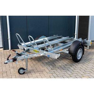 """Motortrailer voor 3 motoren 209x136 (lxb bak), bruto 1000kg (789 netto), vloerhoogte 53cm, oprijhoek 15º,  banden 13"""", enkelas"""