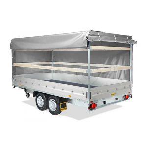Huif voor de Humbaur HN plateauwagen 265 x 165 cm met een dakhoogte van 180 cm vanaf de laadvloer.