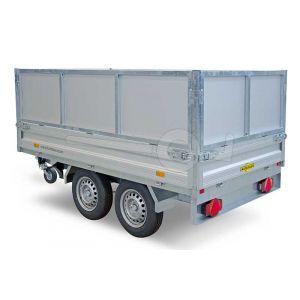 Loofrek met dichte aluminium panelen, 60cm hoog, voor Humbaur HTK 3-zijdige kipper met een laadbak van  363x186cm .