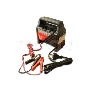 Acculader 12 volt 6 ampère met overspanningsbeveiliging.