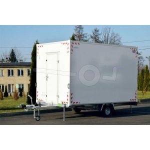Blyss schaftwagen Basic, zonder inrichting, 370x210x230cm (lxbxh) bruto 1350kg (650kg netto), wanden 24mm sandwich, 1 deur boven dissel, 195/50R10 banden, enkelas geremd