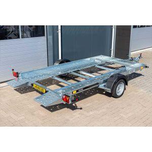Autotransporter 353x183 kantelbaar, met rijbanen en open laadvloer, bruto 1500kg (netto 1128kg), enkelas