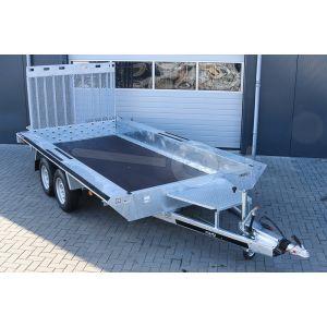 """Opruiming machinetransporter 400x180cm (lxb laadbak), bruto 3500kg (2582kg netto), 30cm stalen borden, banden 14"""", tandemas"""