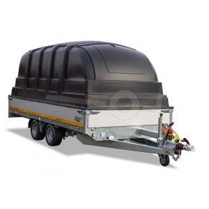 Kunststof kap voor Eduard aanhangwagen 406x180cm, 155cm hoogte vanaf laadvloer, zwart