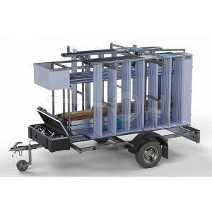 Afsluitbare steigeraanhanger met rolsteiger basic, steiger uitgerust met carbon vloer, afmeting 135x250cm, werkhoogte 8,2m