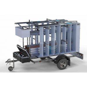 Rolsteiger standaard 135x250cm, 8,2m werkhoogte, voorzien van enkele voorloopleuning, compleet met afsluitbare steigeraanhanger