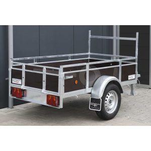 """Aanbieding: Open aanhangwagen 200x110 (lxb bak), 750kg bruto (570 netto), borden en bodem bruin betonplex, banden 13"""", enkelas"""