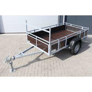 """Aanbieding: Open aanhangwagen 257x132 (lxb bak), 750kg bruto (530 netto), borden en bodem bruin betonplex, banden 13"""", enkelas"""