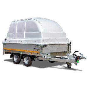 Aanbieding! Kunststof kap voor Eduard aanhangwagen 260x150cm, 130cm hoogte vanaf laadvloer, lichtgrijs