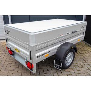 Humbaur aluminium bagagewagen (lxbxh) 205x110x68cm, type HA 752111-5 met deksel, Bruto 750kg (598kg netto), Aluminium wanden 50cm, Enkelas ongeremd, Banden 145/80R13