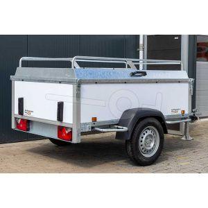 Power Trailer bagagewagen 200x132x60cm, bruto laadvermogen 750kg, witte kunststof panelen, enkelas ongeremd