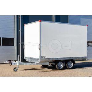 Power Trailer gesloten plateau aanhangwagen (lxbxh) 333x180x188cm, model GEPLA NR.5, Bruto 3500kg, witte glad plywood panelen met polyester coating (ook wit dak), Tandemas geremd