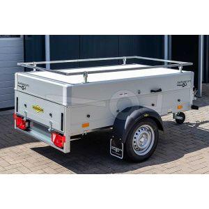 Humbaur aluminium bagagewagen (lxbxh) 205x110x68cm, type HA 752111-5 met deksel en reling, Bruto 750kg (598kg netto), Aluminium wanden 50cm, Enkelas ongeremd, Banden 145/80R13