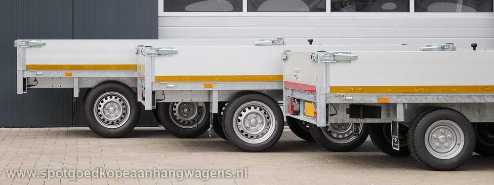 Drie Eduard plateauwagens op rij met de verschillende laadvloerhoogtes van 56, 63 en 72 centimeter