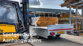 Video demonstratie Eduard plateauwagen met heftruck en lading houten balken