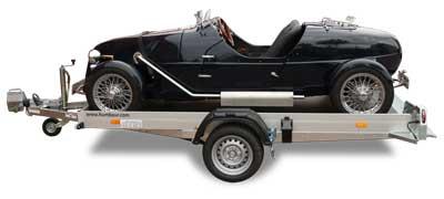 Humbaur HKT vlakke transporter met Burton kitcar