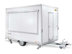Humbaur enkelas verkoopwagen met wielen onder de bak