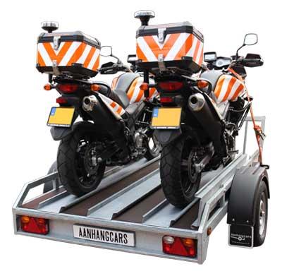 Twins Trailers motortrailer met twee motorfietsen