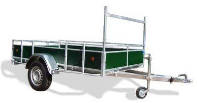 Power Trailer enkelas open aanhangwagen met groen fins betonplex laadborden
