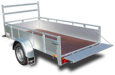Twins Trailers enkelas open aanhangwagen met aluminium borden
